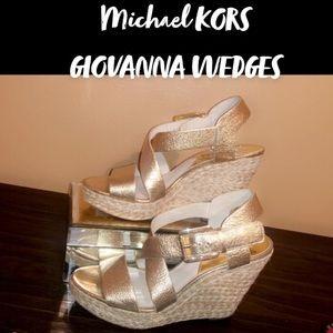 MK Giovanna Gold Platform Wedge Sandals NWT SIZE 6